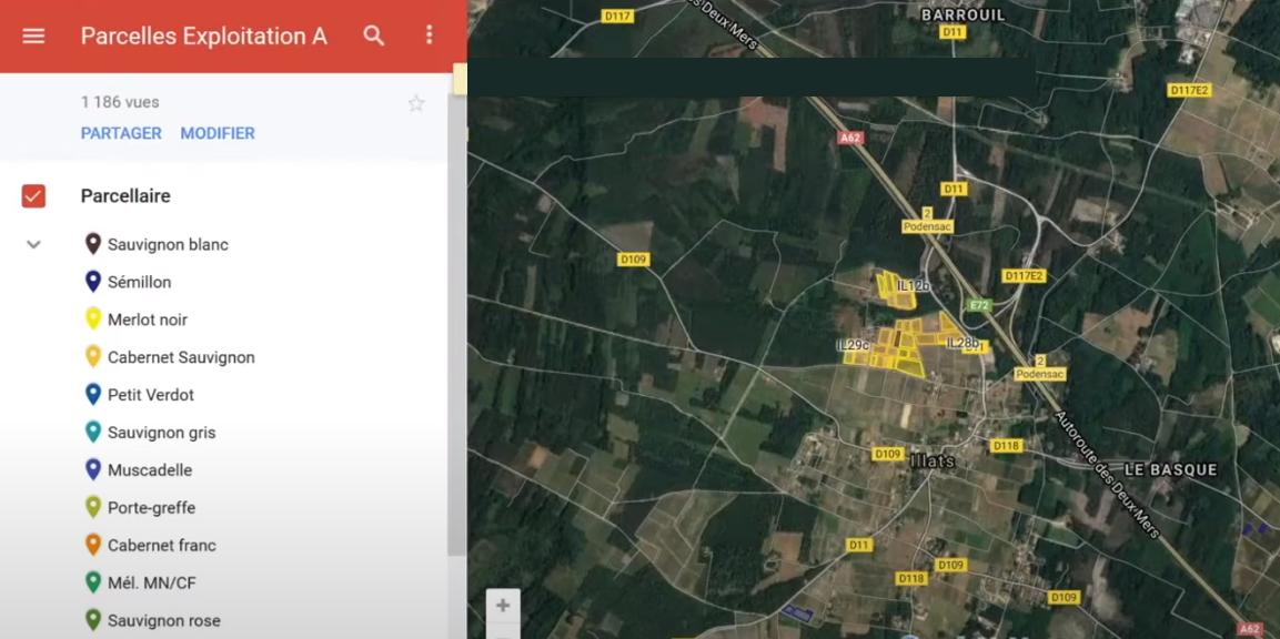 parcellaire viticulture Google Mymaps apex vigne